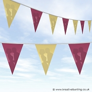 Wedding Day Bunting - Burgundy and Cream Plain